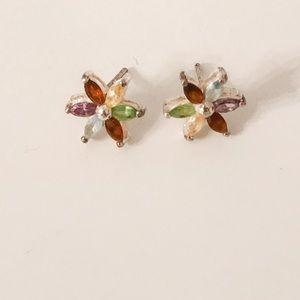 Sterling Silver multi color gemstone Stud Flowers